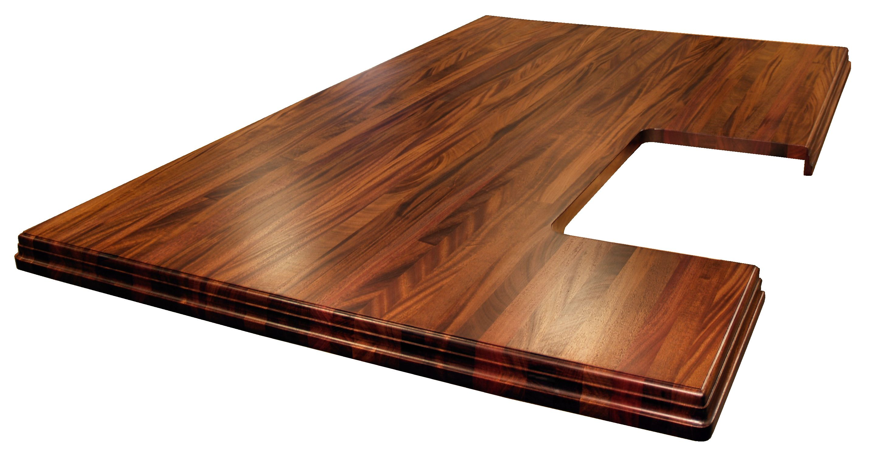 finishes wooden kitchen countertops Afr Mahogany with Walnut Stain African Mahogany Island top with Walnut Stain Edge Grain construction with book matched drop