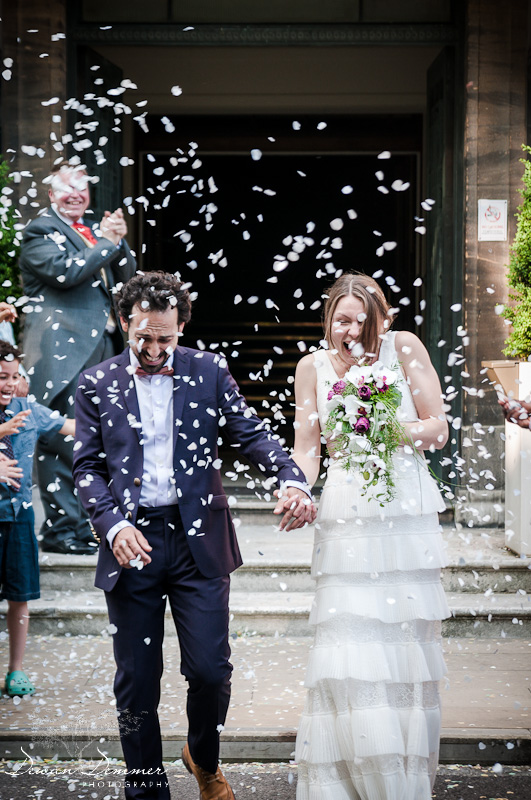 London Wedding Photography of Confetti and rice at the Stoke Newington Town Hall