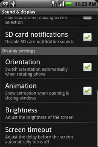 menu de pantalla y sonido