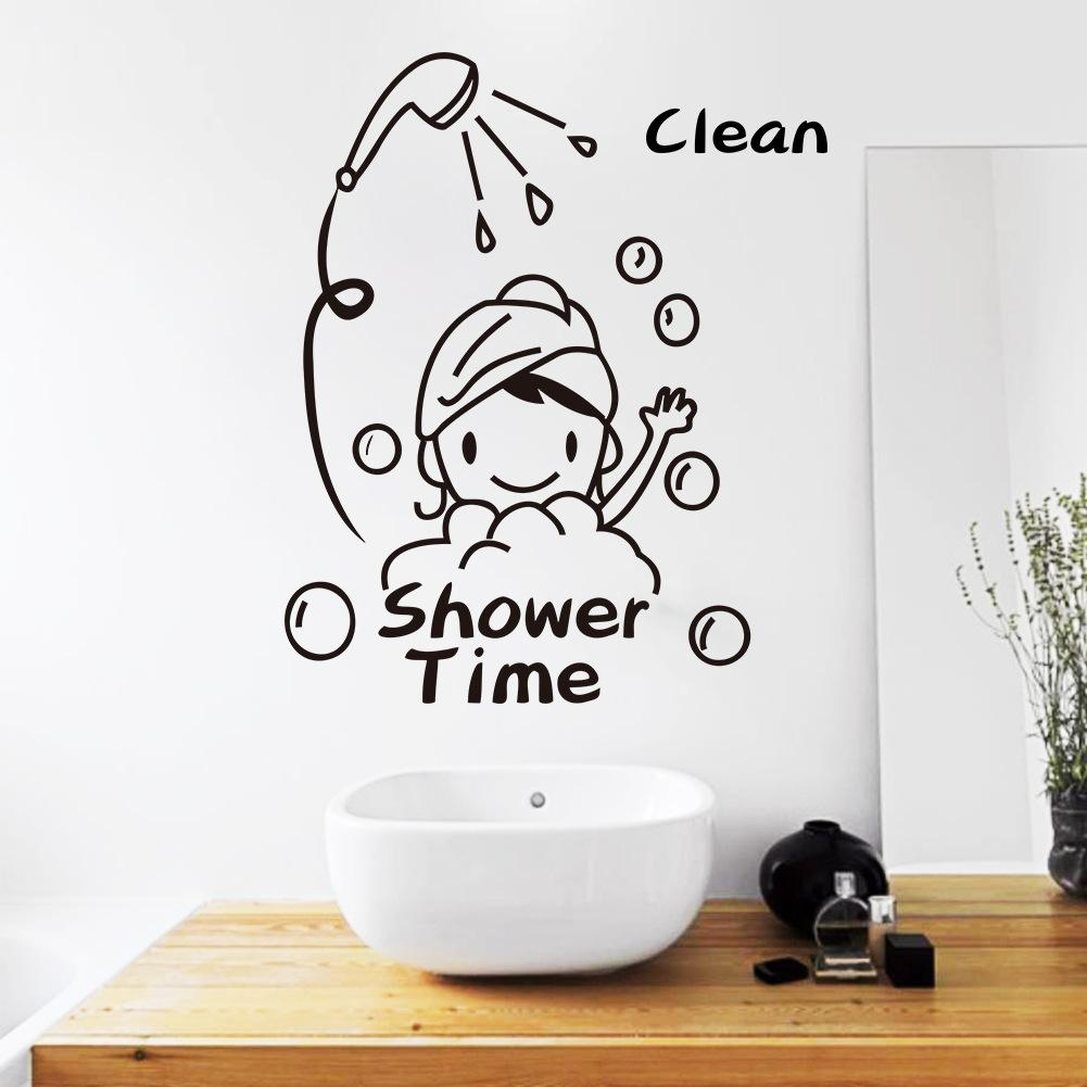 Cozy Shower Time Bathroom Wall Decor Stickers Child Removable Vinylwaterproof Wall Art Decal Wall Stickers Home Decor Wall Decor Stickers Wallart Shower Time Bathroom Wall Decor Stickers Child Removab decor Bathroom Wall Decor