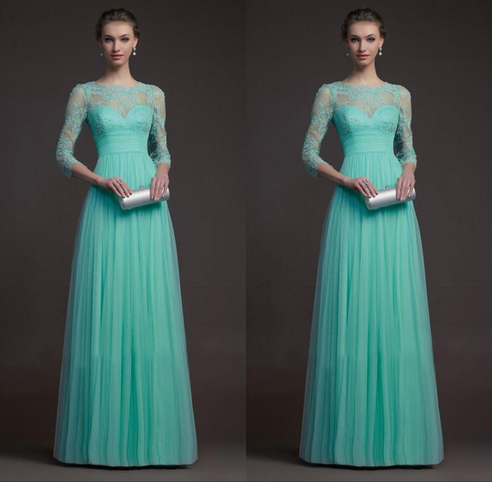 Dining Lace See Through Long Sleeve Turquoise Bridesmaid Dresses Tulle Lace See Through Length Prom Dresses Long Evening Formal Gowns Custom Size Bridesmaid Dresseswith Long Sleeve Turquoise Bridesmai wedding dress Turquoise Bridesmaid Dresses