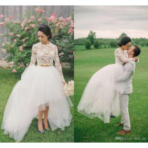 Joyous Discount Low Lace Wedding Dresses 2016 Neck Jewel Long Sleevesprom Dresses Tulle Layers Illusion Two Pieces Dresses Party Evening Cheap Discount Low Lace Wedding Dresses 2016 Neck Jewel Long
