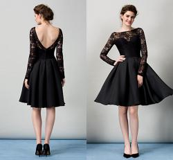 Awesome Black Short Cocktail Dresses Long Sleeves Open Back Draped Taffeta Bateau Prom Party Dress Formal Gown Homecoming Graduate Wear Wwl Gownsdesigns Black Short Cocktail Dresses Long Sleeves Open