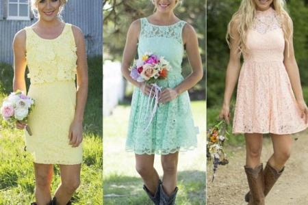 2016 country style short lace bridesmaid