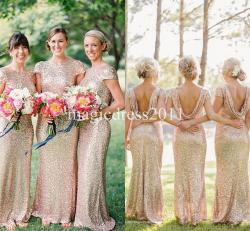 Smothery Honor Sale 2015 G Sequin Bridesmaid Dress Long Rose G Maid 2015 G Sequin Bridesmaid Dress Long Rose G Maid Honor Dressesmermaid Crew Short Sleeve Sparkly Formal Pageant Gowns Cheap