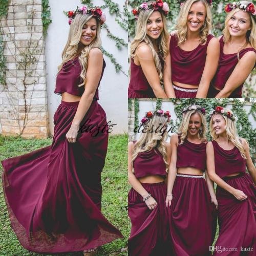 Medium Of Wine Bridesmaid Dresses