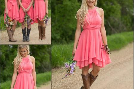 2017 country style short bridesmaid dresses