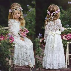 Beauty Lace Bohemian Flower Girls Dresses Toddler First Communion