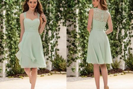 2016 sage country style short bridesmaid