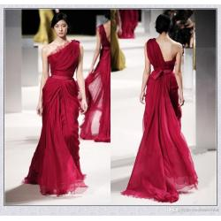Snazzy 2017 Elie Saab Long Red Evening Celebrity Dresses Lace Applique Oneshoulder Backless Pleat Chiffon Sequins Runaway Dress Formal Gown Dressesfor Evening 2017 Elie Saab Long Red Evening Celebrity
