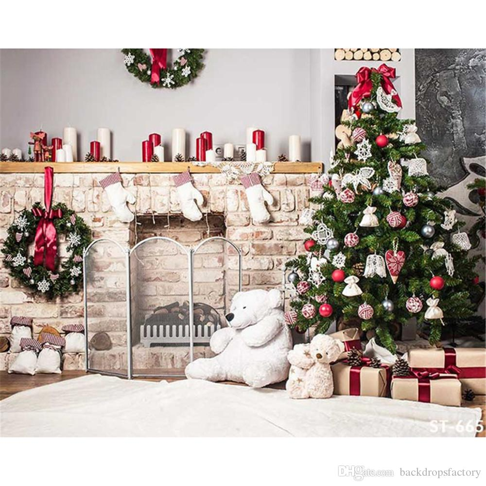Cool Photography Decorated 2018 Xmas Party Backdrops Photography Decorated Treegarland Toy Bear Home Decoration Family Photo Booth Background 2018 Xmas Party Backdrops curbed Indoor Christmas Decorations