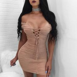Ideal Womens Mini Bodycon Dress New Brazilian Dress Sexy Lace Up Back Tightpencil Dress Lady Pleated Party Club Dresses Under Womens Mini Bodycon Dress New Brazilian Dress Sexy Lace Up Back