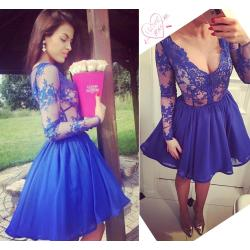 Deluxe Sexy Royal Blue Short Prom Dresses V Neck Illusion Long Sleeves Appliqueslace Chiffon Short Homecoming Dresses Cheap Cocktail Party Dresses Promdress Sexy Royal Blue Short Prom Dresses V Neck I wedding dress Blue Homecoming Dresses