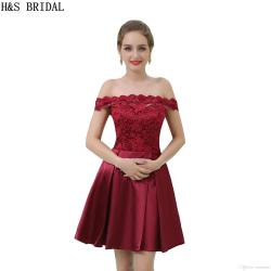 Genuine Real Sample Short Cheap Bridesmaid Dresses Burgundy Lace Off Shoulder Party Gowns 2017 G Bridesmaid Dresses Junior Bridesmaiddresses From Real Sample Short Cheap Bridesmaid Dresses Burgundy La