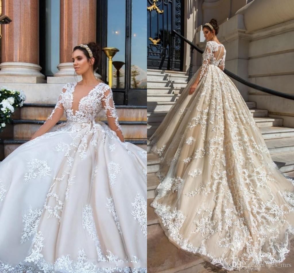 Irresistible Size Lace Appliques Floral Flowersblush Pink Ball Gown Deep V Neck Long Sleeves Formal Bridal Gownsalternative Wedding 2018 Luxury Wedding Dresses Size Lace Appliques Floral 2018 Luxury W wedding dress Wedding Dresses Plus Size