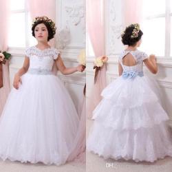 First Communion Dresses for Girls Lace Flower Girl Dresses Open Back