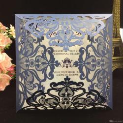 Distinctive Hollow Outrustic Laser Cut Invatation Card Flowers Party Invites Weddinginvitations 2018 Navy Blue Free Printed Wedding Invitations Cards Hollow 2018 Navy Blue Free Printed Wedding Invitat
