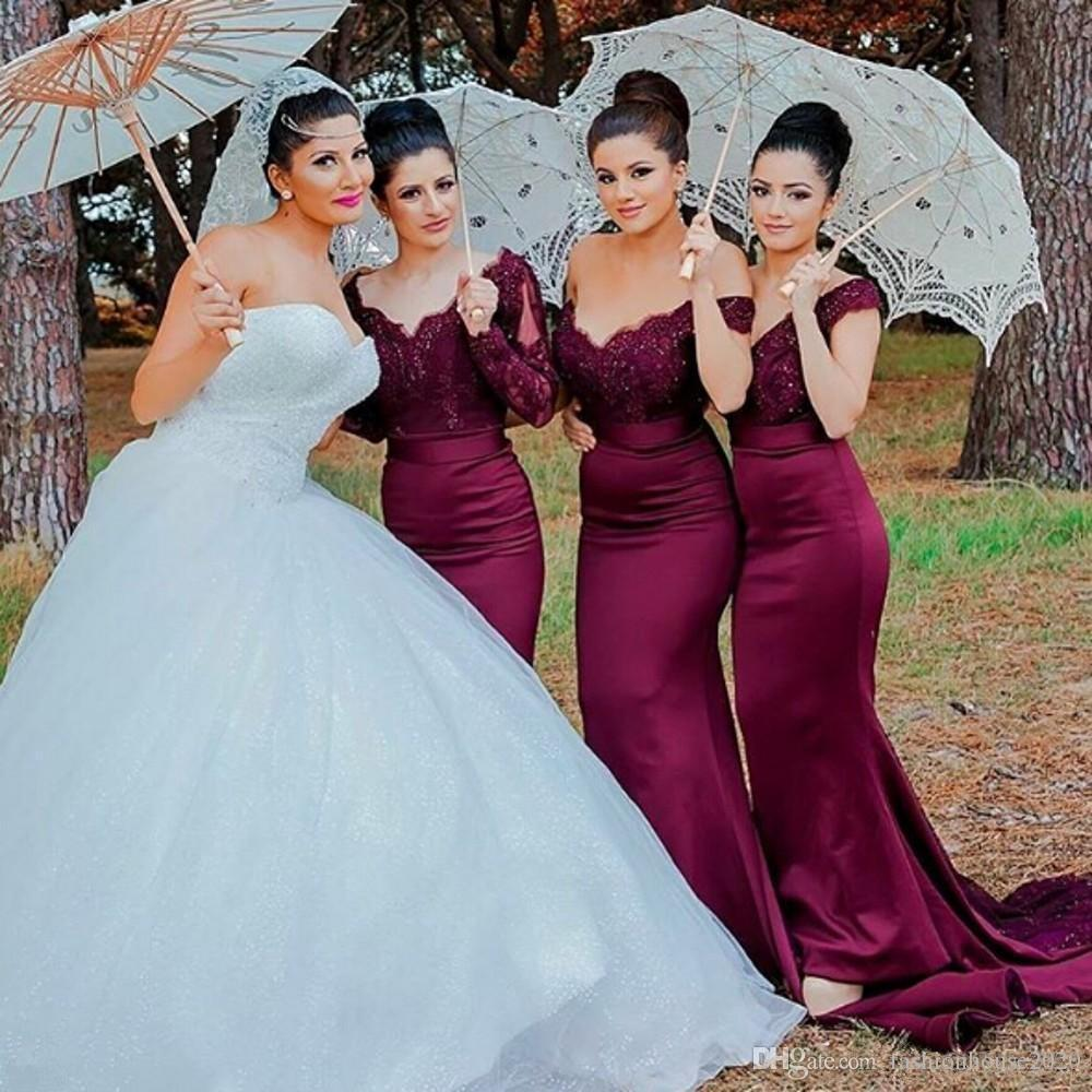 Imposing Sexy Long Burgundy Lace Bridesmaid Dresses Mermaid Off Shoulderappliques Size Bridesmaids Gown Cheap Burgundy Lace Bridesmaid Dresses Good Dresses wedding dress Burgundy Bridesmaid Dresses