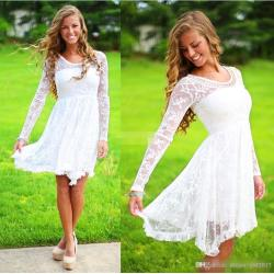 Groovy Discount Short Casual Country Wedding Dresses Long Sleeves Long Sleeves Crystalneckline Knee Length Full Lace Wedding Gowns Short Beach Bridal Dress Discount Short Casual Country Wedding Dresse