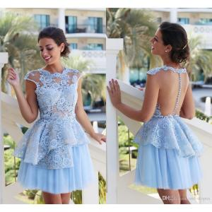 Soulful 2017 Short Lace Cocktail Dresses Light Sky Blue Tulle Ball Gowns Formalprom Party Dress Jewel Cap Sleeves Sheer Backless Homecoming Gown Gowns Forwomen 2017 Short Lace Cocktail Dresses Light S