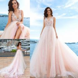 Sparkling Discount Blush Pink Wedding Gowns Quality Tulle Rufflebridal Dresses Backless Spring Autumn Engagement Dress Custom Made Wedding Discount Blush Pink Wedding Gowns Quality Tulle