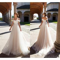 Perky Discount 2018 A Line Wedding Dresses Off Shoulder Appliques Lace Beadscorset Back Summer Size Tulle Sashes Bohemian Beach Formal Bridal Gownswedding Discount 2018 A Line Wedding Dresses Off Shou