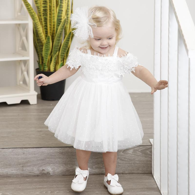 36a40434fbecb ... Kid Party Wedding White Dresses Cheap. 2018 Summer Baby Girl Clothes  Strapless Shoulder Flower