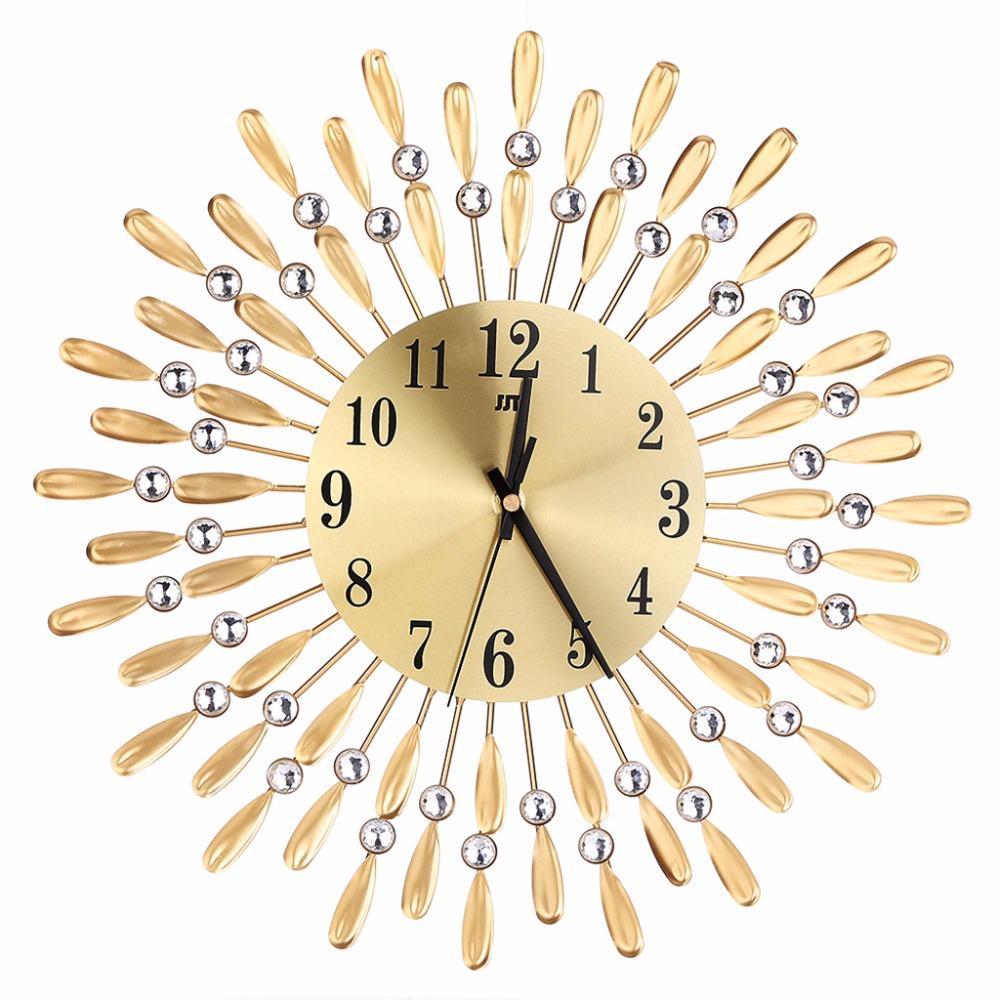 Prodigious Art Luxury Diamond Metal Wall Clock Large Wall Mounted Clocks Homeliving Room Office Decor Quality Wall Clockslarge Art Luxury Diamond Metal Wall Clock Large Wall Mounted Clocks furniture Unique Wall Clocks