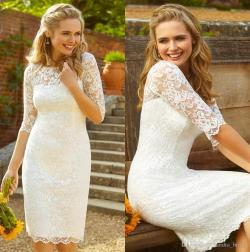 Divine Half Sleeves Informal Kneelength Wedding Dresses Bridal Gowns 2018 Cheap Beach Bride Dress Columnsheath Country Style Lace Short Wedding Dress Country Style Lace Short Wedding Dress Half Sleeve