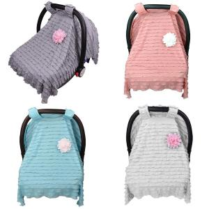 Superb Infant Baby Car Seat Cover Rayon Nursing Canopystripe Canopy Shopping Cart Stroller Accessories