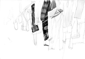 Drawing of washing hanging out to dry