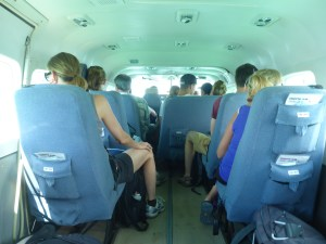 The inside of the Tropic Air cabin