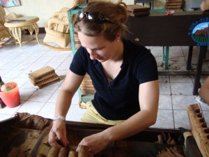 Rolling a cigar in Granada, Nicaragua