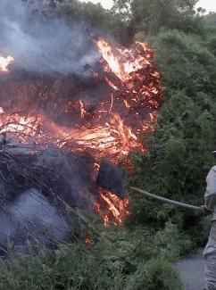 Finalmente este lunes las llamas cerca del embalse de Agua Fría, sector La Enea, fue controlado