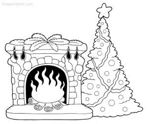 Dibujos-colorear-navidad-Arbol-chimenea