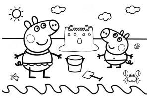 dibujos-de-peppa-pig-en-verano-haciendo-un-castillo-en-la-playa