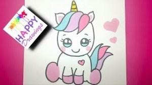 Dibujos kawaii de unicornio paso paso