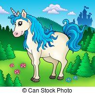 lindo-unicornio-en-bosque-dibujo_csp4588400