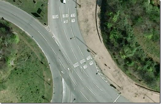 A section of the Nuthall roundabout - lanes, lanes, and more lanes