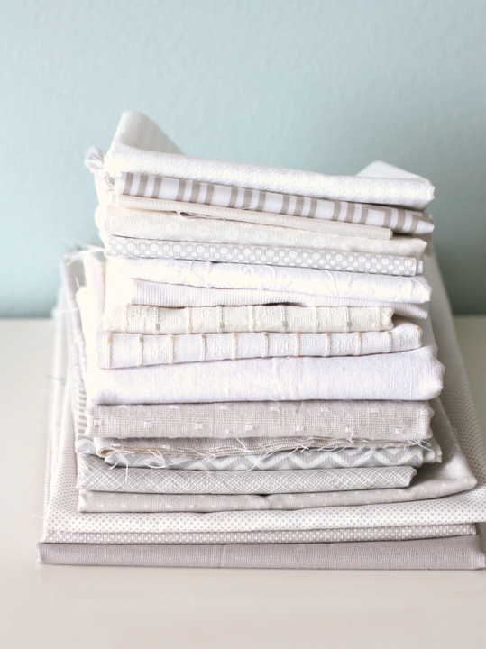 White and gray fabrics
