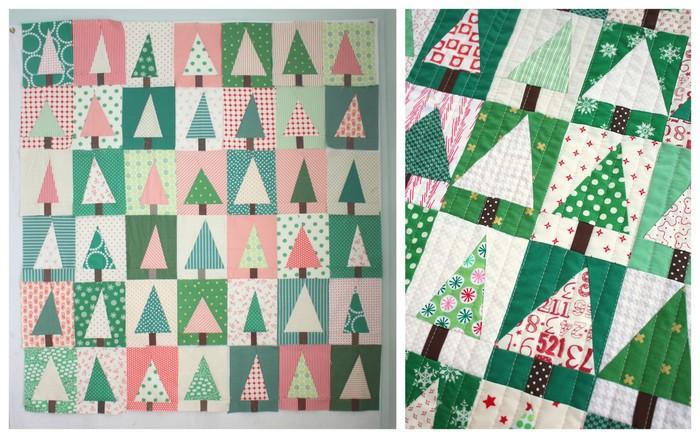 Modern Christmas tree quilt