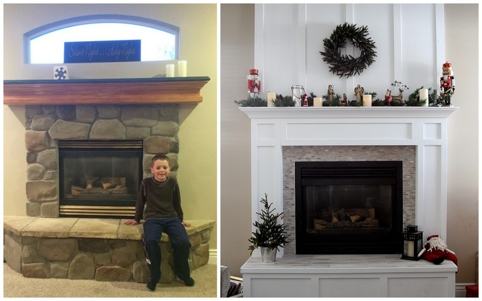 before and after fireplace mantle redo