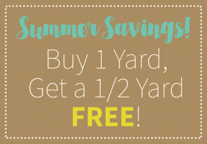 buy one yard get half free