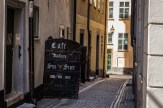 Residents and tourists of Gamla Stan can find cafes on almost every corner. July 2015.