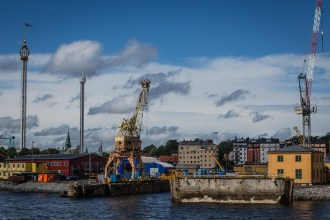 Just outside of the Stockhom key, a crane is painted to imitate a giraffe. July 2015.