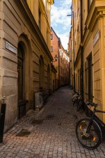 Stockholm's medievial section, Gamla Stan, is alive and busy with residences and restaraunts. July 2015.
