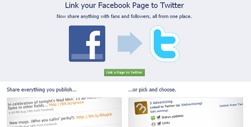 Faceboook Fan Pages and Twitter