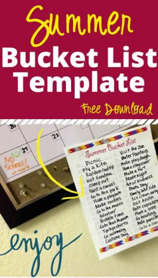 Free Summer Bucket List Template