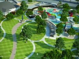 the estimated $15 million project will convert a portion of the hotel's seven-‐acre Sculpture Park and Tennis Courts into a world-‐class water facility, unparalleled in North Texas. Designed to attract leisure and family guests throughout the summer season, the project will encompass approximately three acres and include multiple heated swimming pools and recreation areas, as well as enhanced walking paths and green spaces. New food and beverage options will also be added in the form of a new outdoor restaurant and bar, as well as a separate 23-‐seat swim-‐up bar. The project is scheduled for completion by July 22, 2016. The project's sophisticated design, architecture and landscaping will draw inspiration from the modern Asian influences present throughout the Hilton Anatole Hotel. Comprised of a leisure pool, beach-‐entry family pool, lazy river, luxury cabanas, and splash zone with two 180-‐foot slides, the new addition will offer a relaxed upscale atmosphere complete with artwork displayed throughout the pool area. The full complex will be open from July 22 through Labor Day this year, with the leisure pool operation year round. The project will also include two new event lawns, each with the capacity to hold 200 people, complementing the hotel's existing park space and ability to host large outdoor functions for up to 3,000 people. Groups will also be able to utilize the poolside
