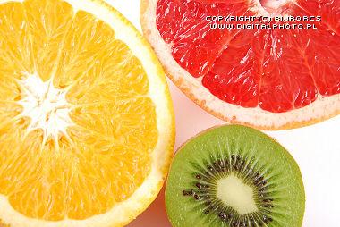 orange, grapefruit, kiwi
